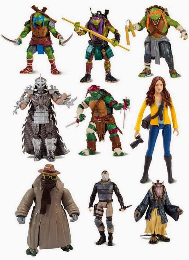 TMNT figuras 2014, película tortugas ninja, donatello, leonardo, michaelangelo, raphael, splinter, shredder, april o'neil