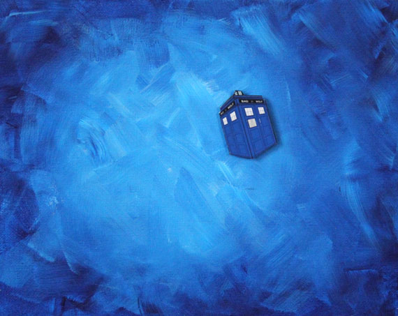 Doctor Who Tardis Flying Through Space Painting with Raised Decoupage