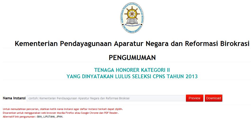 Nama-nama Tenaga honorer k2 yang lulus tes cpns 2013