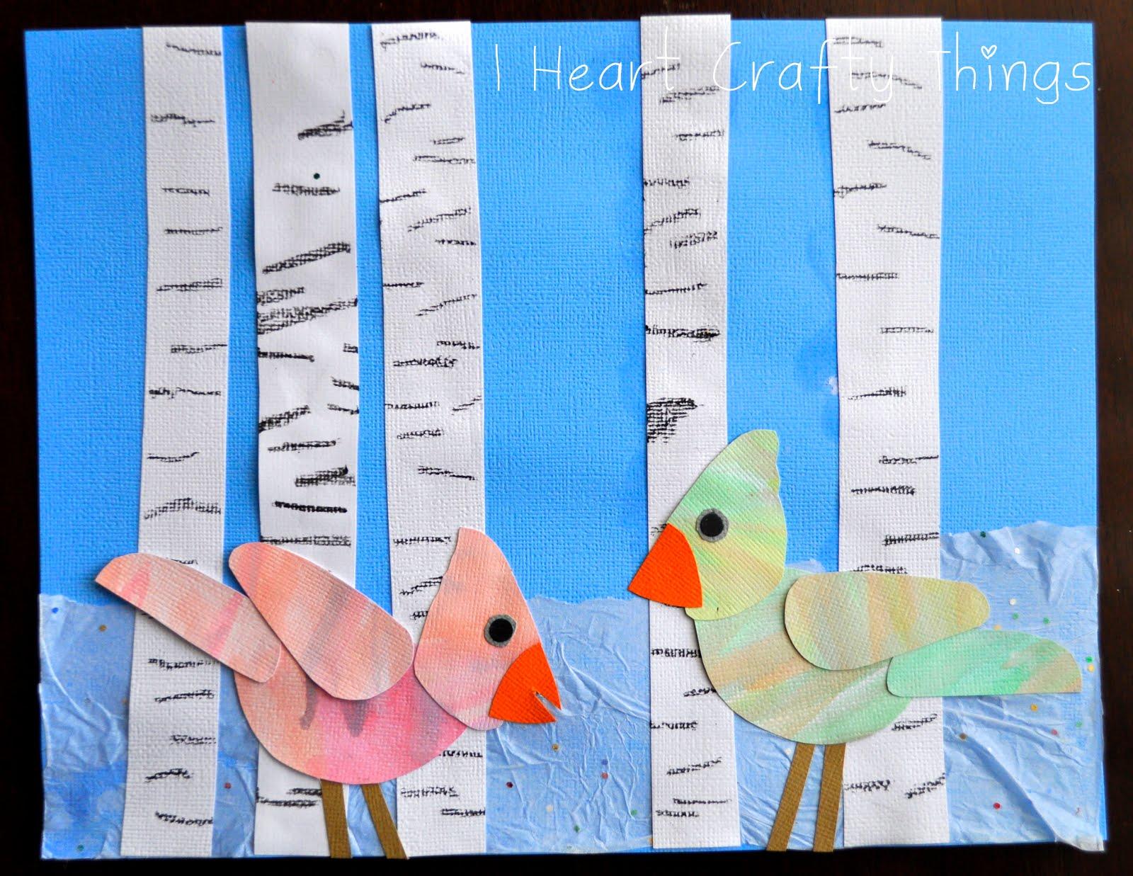 Aspen Tree And Birds Winter Art Project I Heart Crafty Things