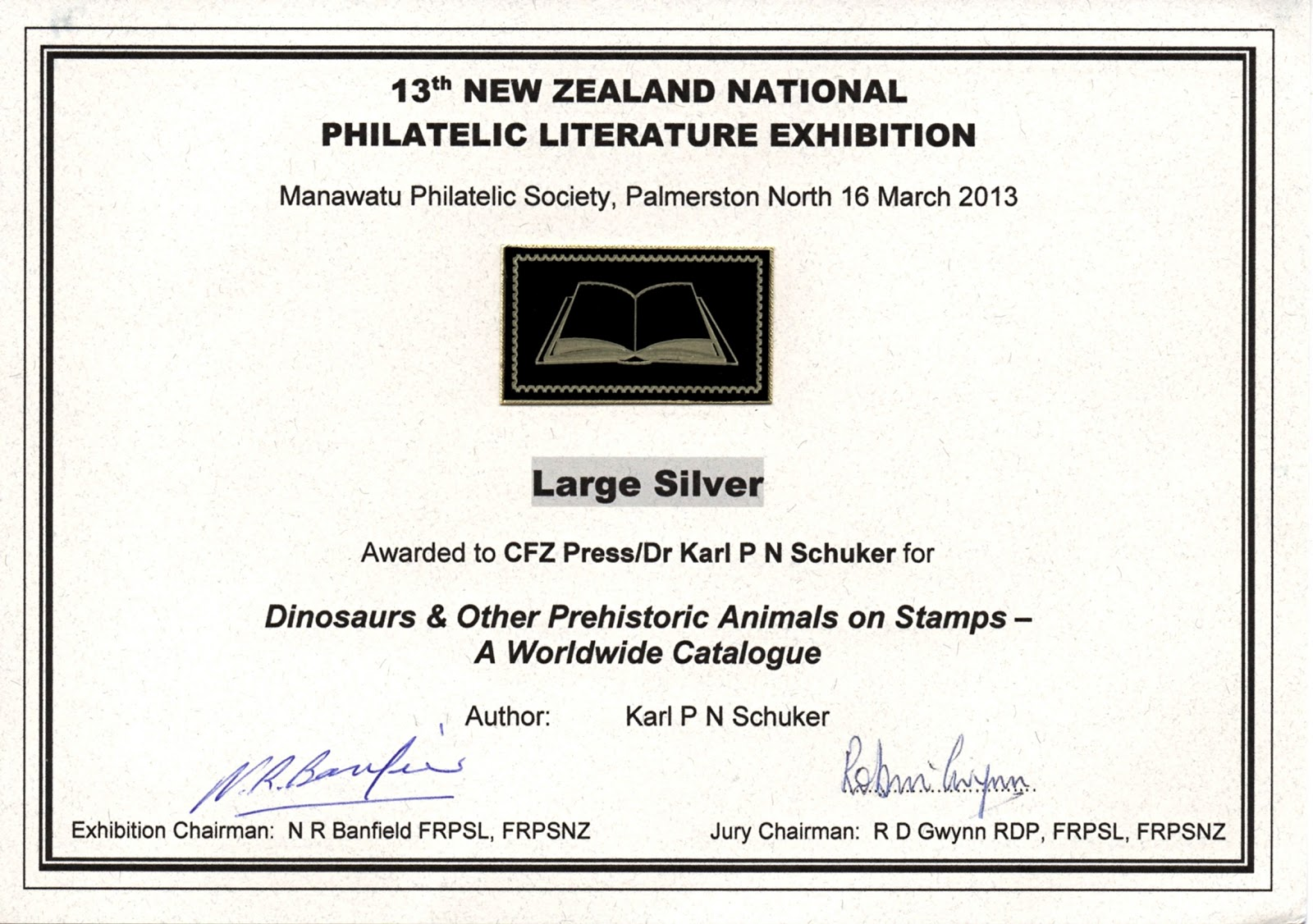 My book's awarded certificate
