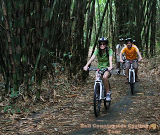 Teens safety Ride In Middle Bamboo Forest - Bali Countryside Cycling Tour Tracks
