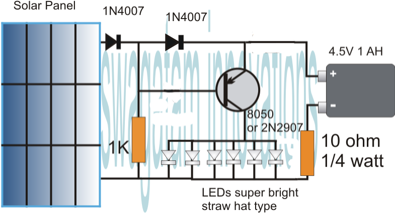 simplest automatic led solar light circuit  solar garden light, circuit diagram