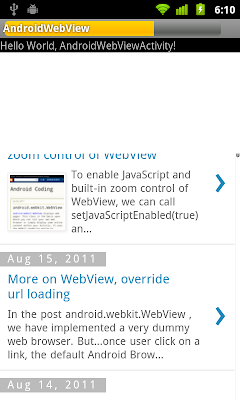 Display Progress Bar on WebView when loading