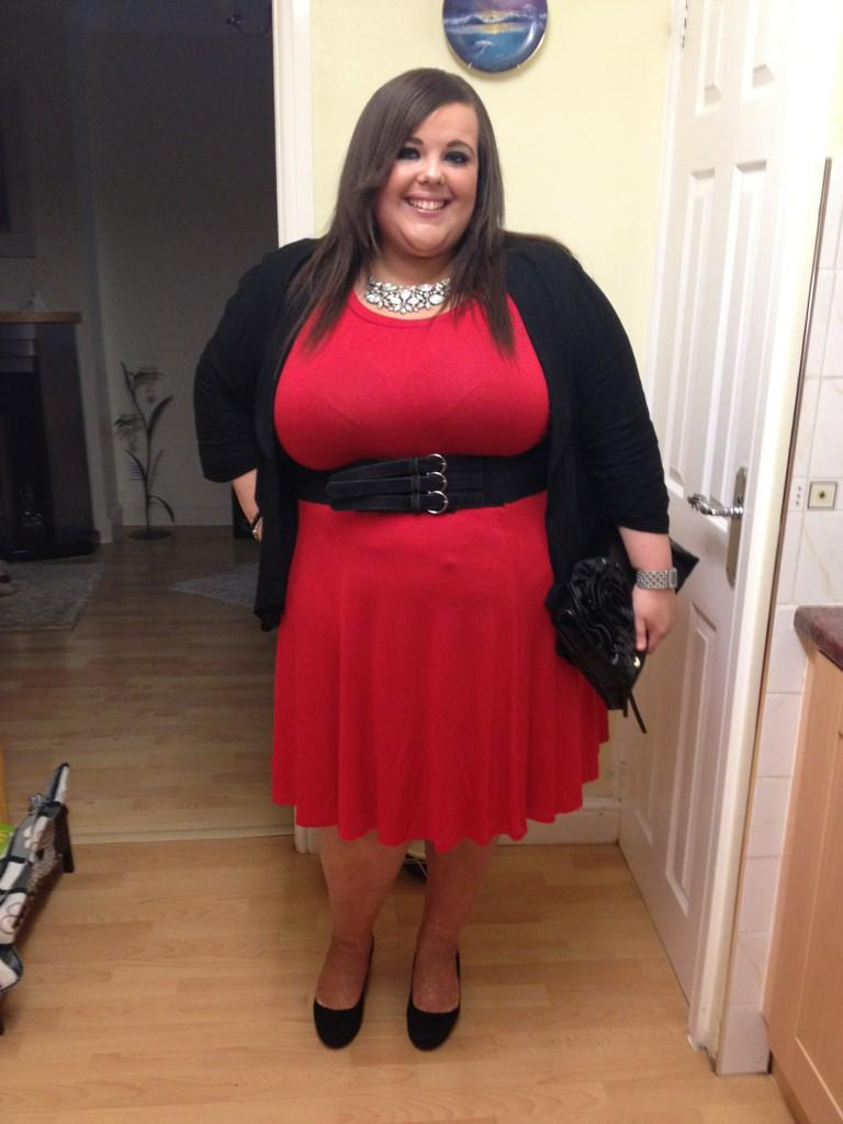 Evans red and black dress