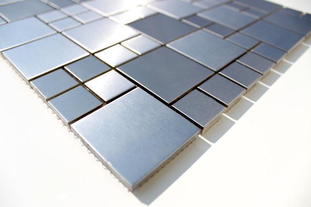 LUXUS Edelstahl Mosaik Silver Style Edelstahl