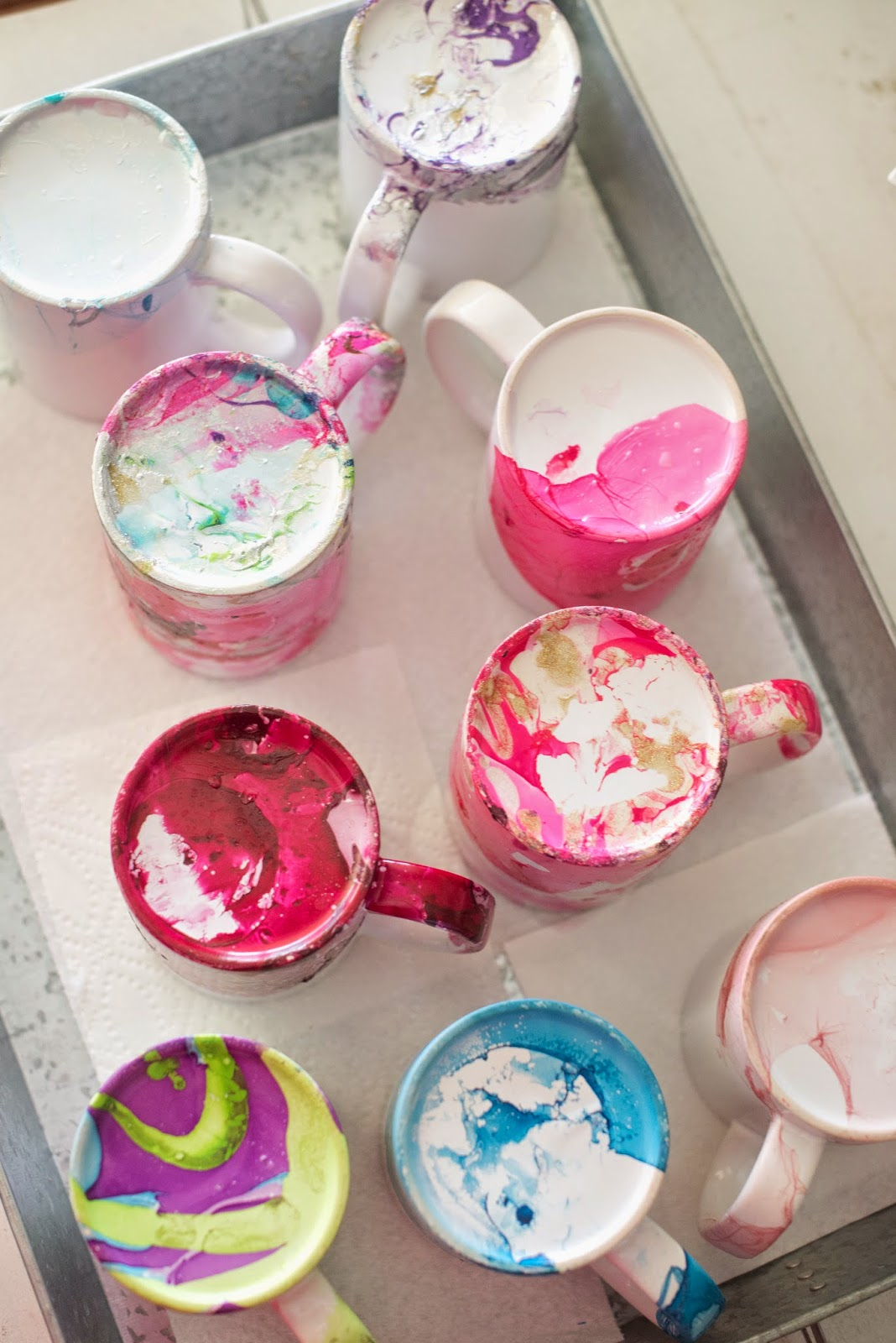 Domestic fashionista diy marbled nail polish coffee mugs each one is its own little work of art seeing them all together is so pretty to my eyes solutioingenieria Image collections