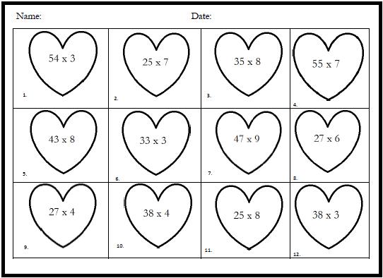 math worksheet : classroom freebies valentine math with single digit by two digit  : Valentine Math Worksheets First Grade