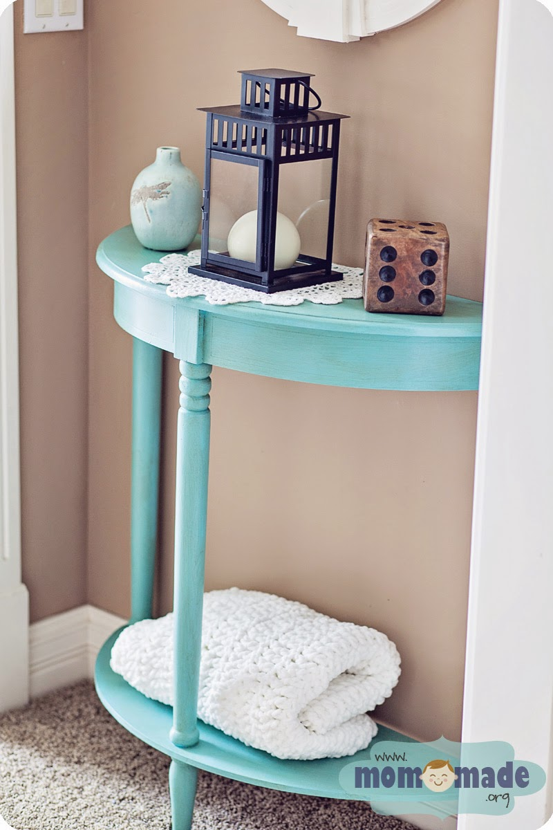 Aqua Blue Chalk Painted Side/Accent Table by Mom-Made