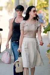 Dita Von Teese Out and About in West Hollywood, hot red lips, skirt dita von on the road