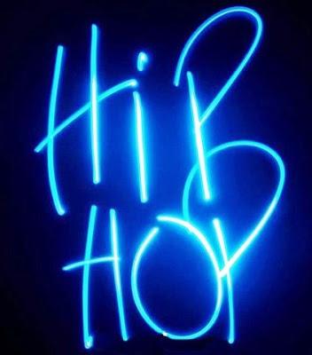 Blue Neon Hip Hop Logo