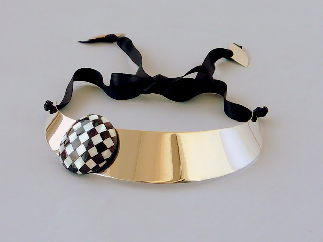 Checkered Black and White Art Deco Choker by Vangloria