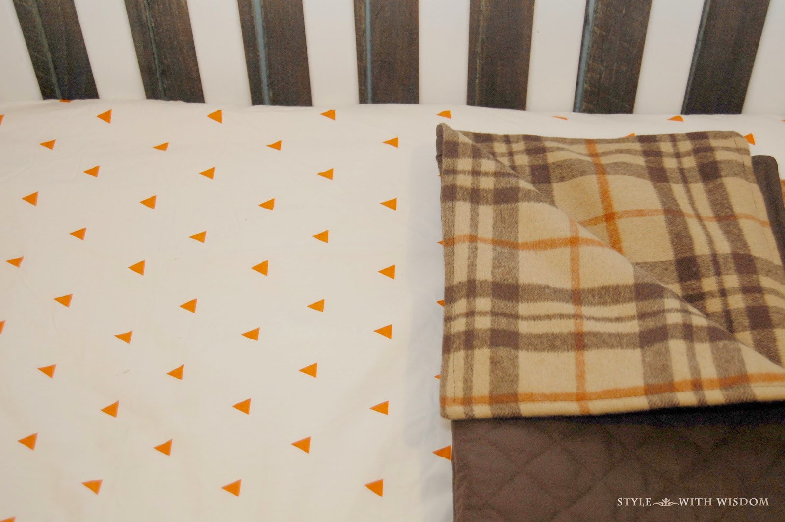 Woodland Nursery crib bedding plaid