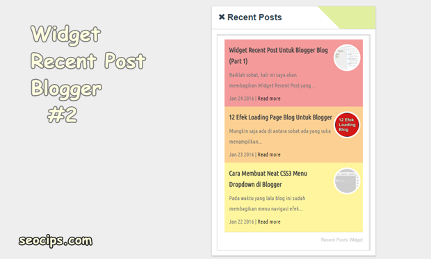Recent Post Widget For Blogger Blog (Part 2)