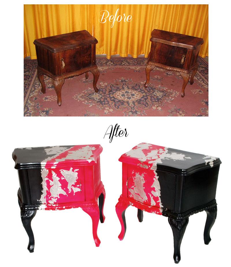 ... Moderni : Restauro decorazione comodini barocco colorati before after