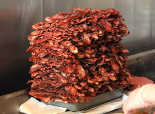 huge pile of bacon crispy