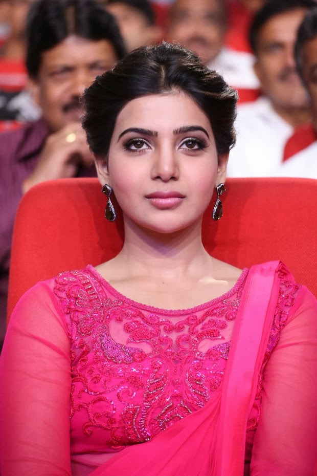 Samantha Pink Chudidar Photos in Autonagar Surya Audio Launch Photos
