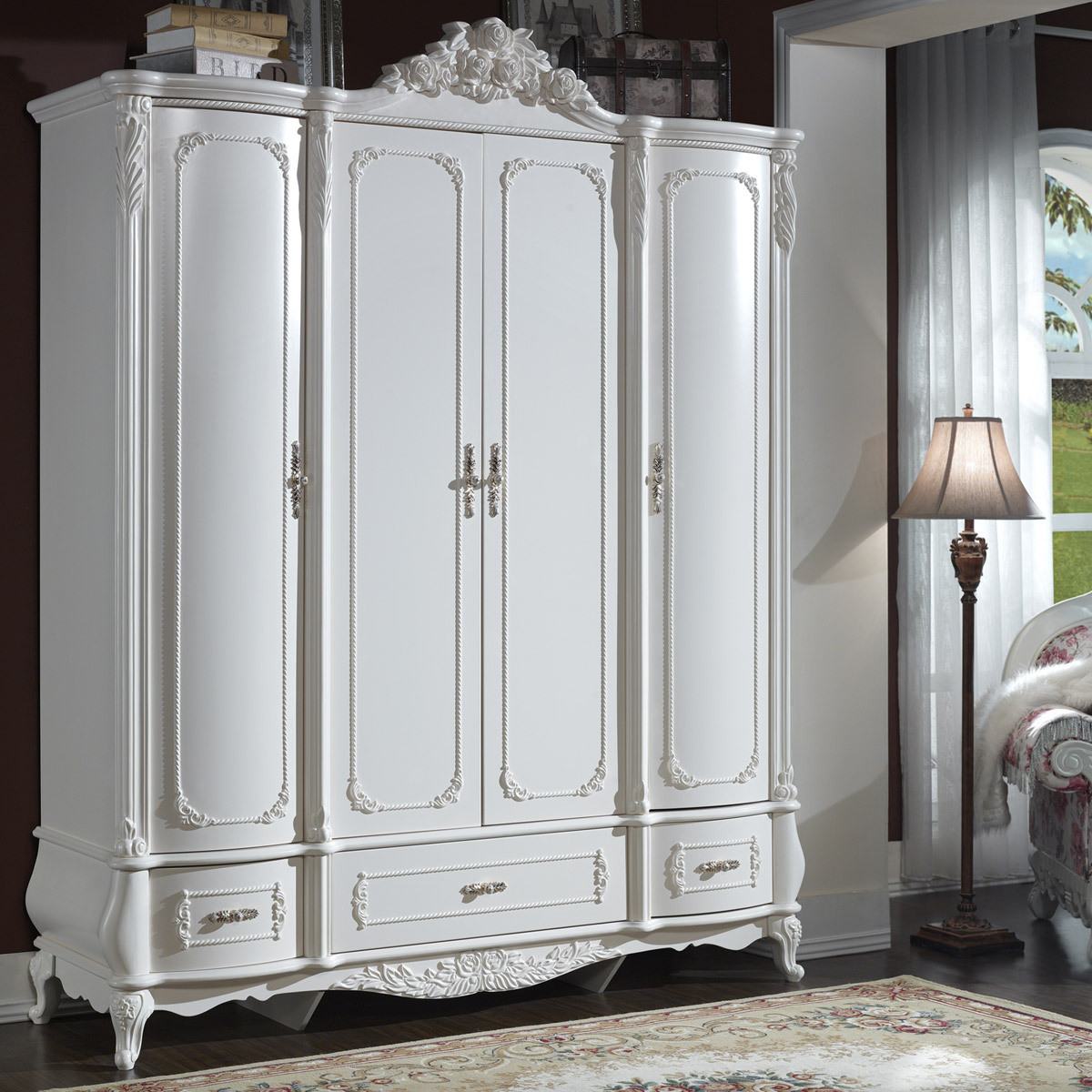 Wood Furniture Manufacturers: White Wooden Wardrobe Designs. Full resolution‎  portrait, nominally Width 1200 Height 1200 pixels, portrait with #70714D.