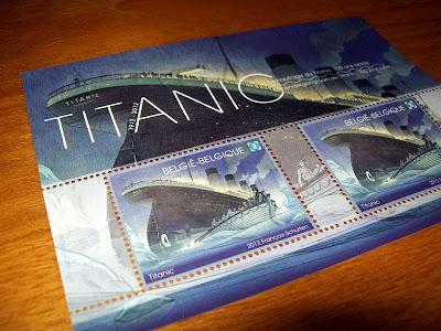 Titanic, stamps, 3D, Belgium