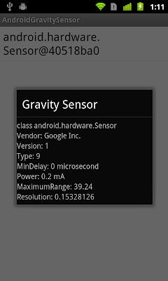 Get details of gravity sensor