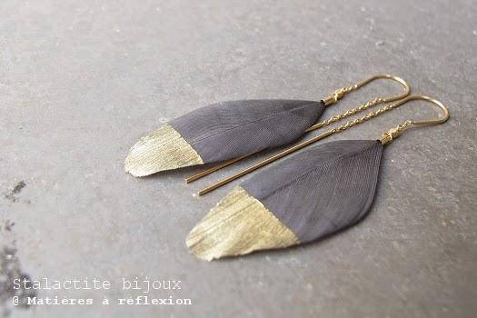 Boucles plume et or Stalactite bijoux