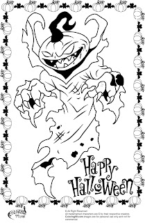 scary halloween pumpkin monster coloring pages