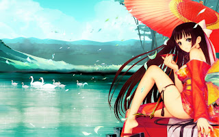 Hentai Anime Girl with an umbrella near the lake, cartoon hd wallpapers, anime HD wallpapers