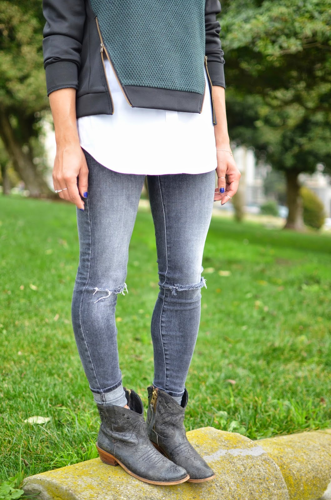 Allergic to Vanilla style blog- zippered sweater, Le Tote, Lush clothing, SF style, J Brand denim, grey denim