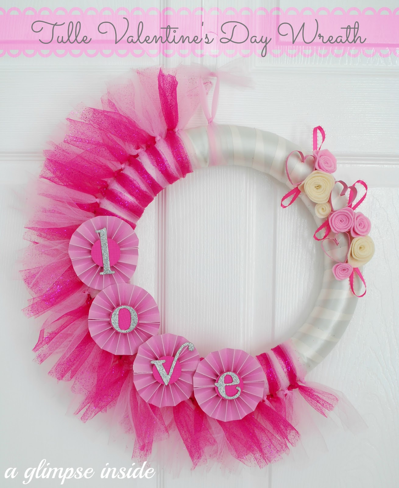 Tulle valentine 39 s day wreath tutorial a glimpse inside for Valentines jewelry dallas pa