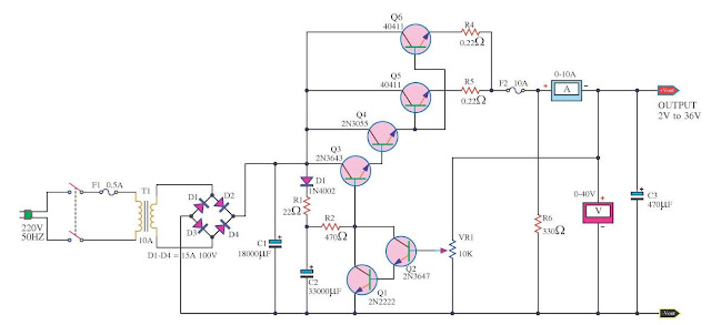 how to Creating Variable Power Supply 10A Circuit
