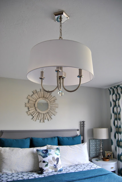 lighting, lighting design, chandelier, drum shade chandelier, white drum shade, crystal chandelier, aloof gray, teal, teal bedroom, teal and gray, curtains, white and teal, giveaway, sunburst mirror, sunburst mirror over bed, gray bed