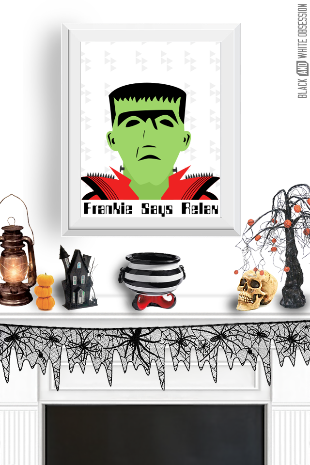 Free Halloween Print: Frankenstein Wall Art | www.blackandwhiteobsession.com