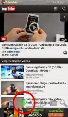 Youtube di Android Tubemate