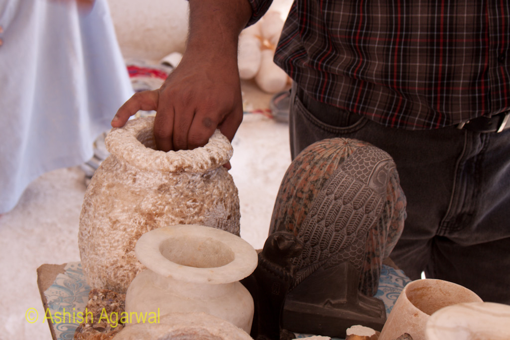 Different kinds of curios, vases, all for sale, close to the Valley of the Kings near Luxor