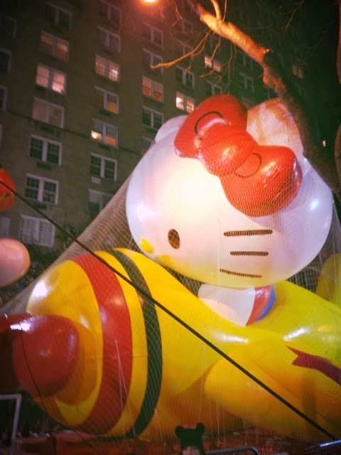 Hello Kitty, Hello Kitty float in Macy's Parade, Thanksgiving in New York City, Macy's Thanksgiving parade, floats in Thanksgiving parade, watching the floats in New York, inflating Macy's parade floats, night before Thanksgiving