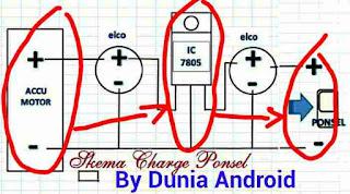skema charge aki sepeda motor untuk pONSEL
