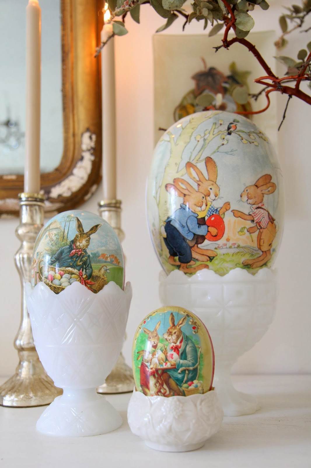 Three Cardboard eggs; Easter Buffet Table Decor - Nora's Nest