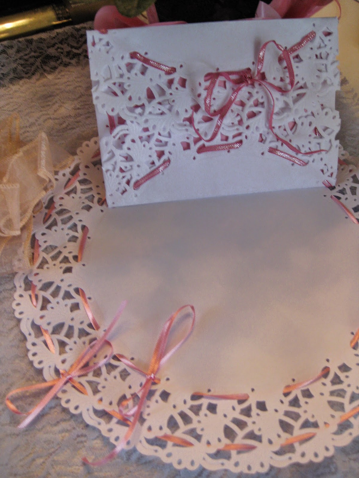 Ribbon embellished paper doilies ~ too simple and too elegant for words!