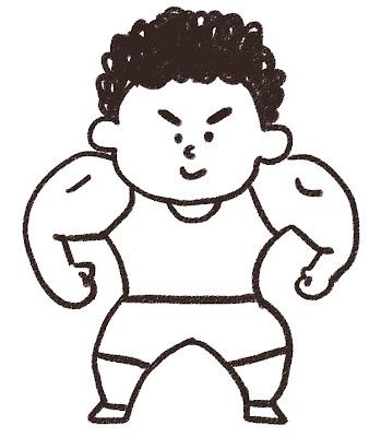 レスラー・レスリング選手のイラスト モノクロ線画