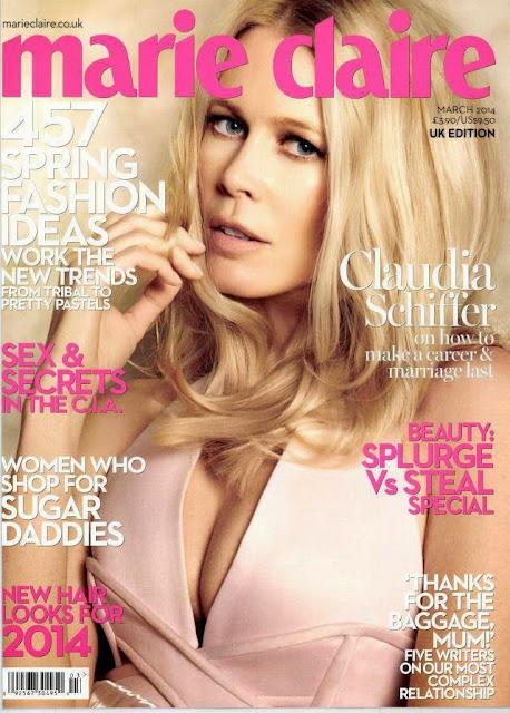 Magazine Cover : Claudia Schiffer Magazine Photoshoot Pics on Marie Claire Magazine UK March 2014 Issue