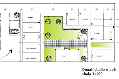 Jasa desain Denah studio musik Layout studio musik