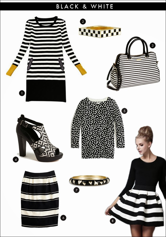 black and white trend, black and white skirt, striped dress, polka dot sweater, black and white accessories, kate spade, nordstrom, j crew, fashion, style