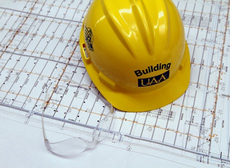 Hard hat with UAA logo