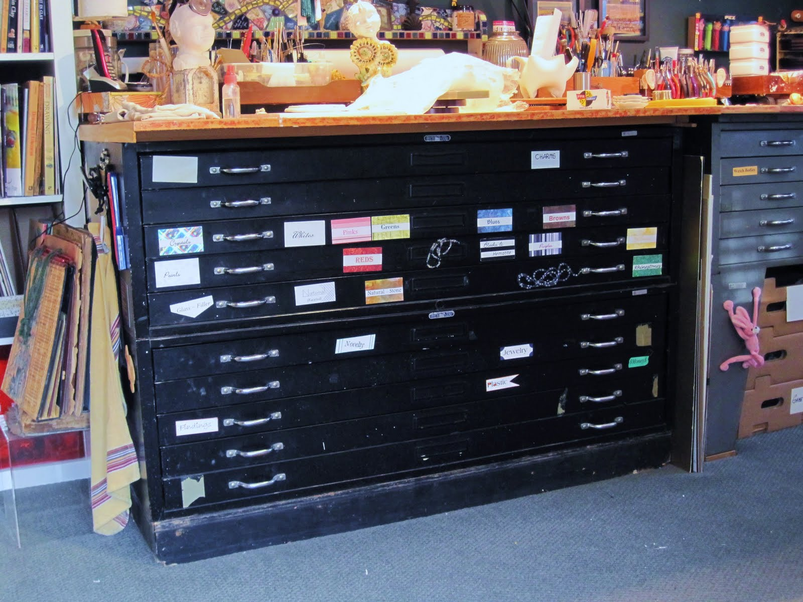 Flat file storage simple paint file cabinet four drawers with the one below holds beads jewelry in progress findings jewelry for repurposing and flat storage for prints and game boards bottom two drawers malvernweather Choice Image