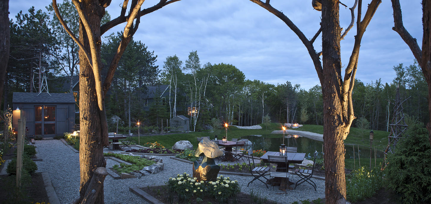 "the hidden pond Located within the luxury resort hidden pond, the ""farm-to-fork"" cuisine at earth takes advantage of the bounty of the property's 800 square-foot organic farm."