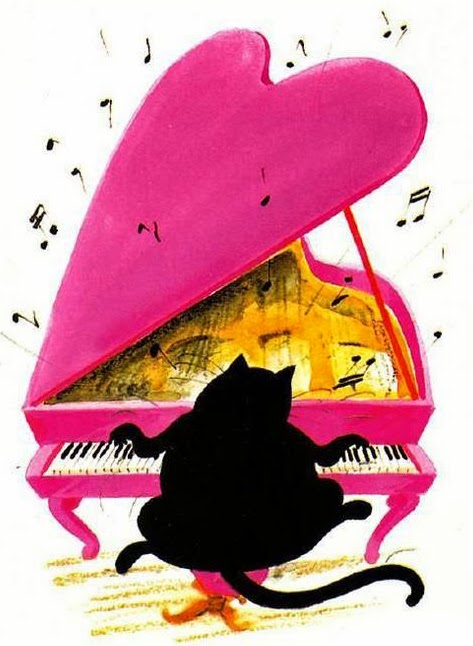 big fat cat playing on a pink heart shaped piano illustration by Claude Henri Saunier