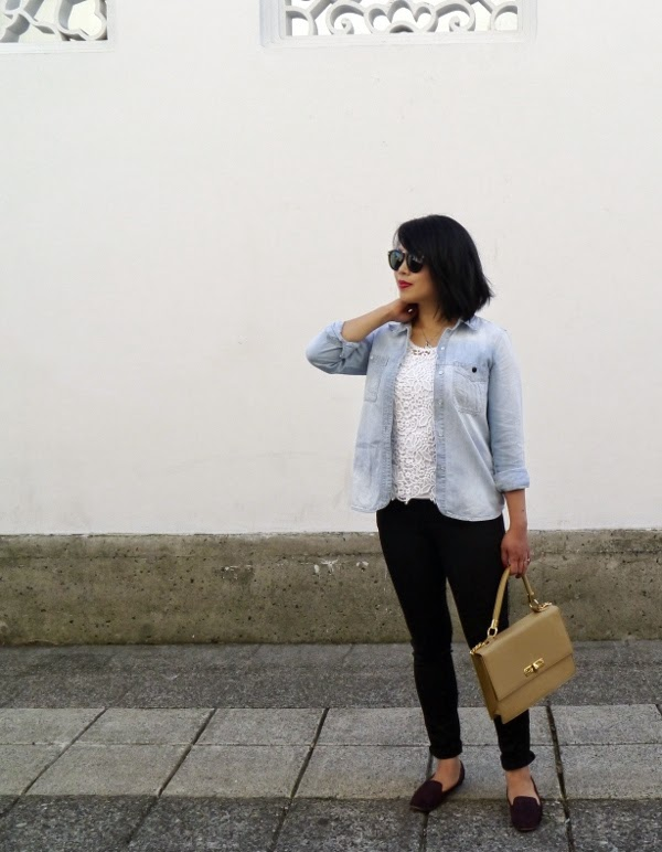 Transitional summer to fall dressing: chambray shirt, white lace tank, and skinny black denim