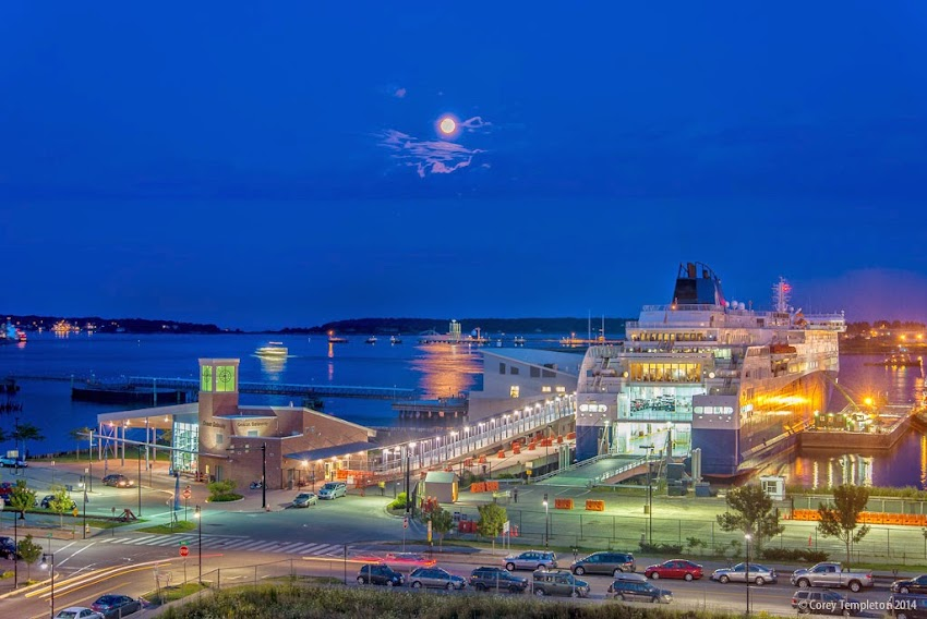 August 2014 Summer in Portland, Maine Super Moon over Ocrean Gateway and Casco Bay at Night photo by Corey Templeton