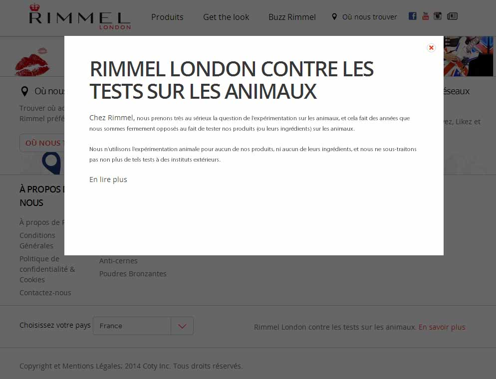 rimmel london r ellement contre les tests sur les animaux ma vie sans cruaut. Black Bedroom Furniture Sets. Home Design Ideas