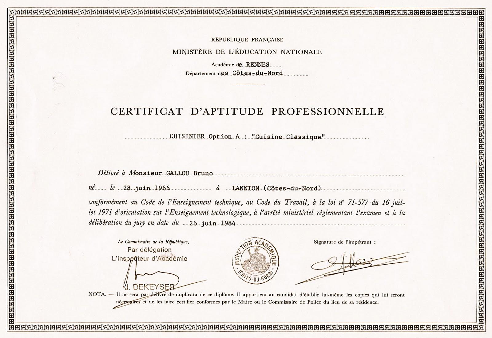 Bruno Gallou 1984 Certificat D Aptitude Professionnelle